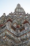 Top of chedi in wat arun temple. Decorated chedi in wat arun temple in bangkok, thailand Stock Photo