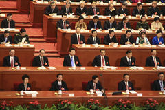 Top Chinese leaders attending parliament meeting Royalty Free Stock Photo