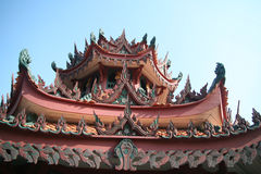 On The Top of Chinese Temple. On The Top of lengnoeiyi Temple Thailand Stock Photos