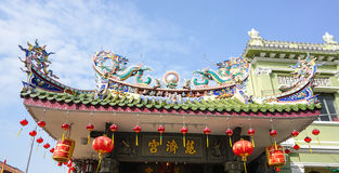 Top of the Chinese temple in Penang, Malaysia Royalty Free Stock Photo