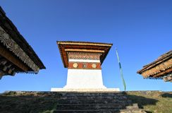 The top of 108 chortens stupas , the memorial in honour. Of the Bhutanese soldiers at  Dochula Pass on the road from Thimphu to Punaka, Bhutan Stock Image