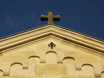 Top of christian church. With cross in a blue sky royalty free stock photos