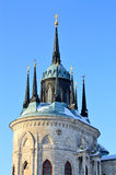 Top of the church built in russian gothic style Royalty Free Stock Photo