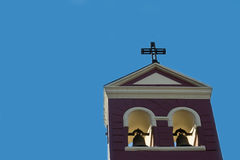 Top of a church. With a clear blue sky as background Royalty Free Stock Photo