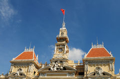 Top of the City Hall in Saigon, southern Vietnam Royalty Free Stock Photo