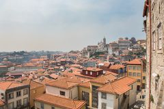 Top cityscape view on the square near the Igreja dos Grilos chur Royalty Free Stock Image