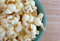 Top close view of a bowl of white cheddar cheese popcorn Royalty Free Stock Photography
