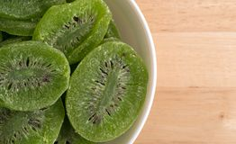 Slices of glazed kiwi fruit in a white bowl Stock Images
