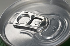 Top of Closed Aluminium Can Ring Pull Stock Photo
