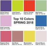 Top 10 Colors Spring 2018. Trendy colors of a season Spring 2018. Trendy colors of a season Spring 2017 to RGB color space, infographics Royalty Free Stock Photography