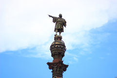 Top of the Columbus Monument in Barcelona, Catalonia, Spain. Top of the Columbus Monument (Mirador de Colom) in Barcelona, Catalonia, Spain. Bronze statue by stock photos