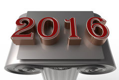2016 on top of a column. 3D rendered illustration of the number 2016 on top of a column. The composition is  on a white background Stock Photos