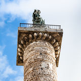 Top of column of marcus aurelius in Rome city Royalty Free Stock Photo