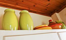Top of cottage corner cupboard Royalty Free Stock Photo