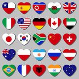 The top of the country, a set of flags in the shape of a heart. Famous country, a set of flags in the shape of a heart. With the shadow on a gray background Royalty Free Stock Photos