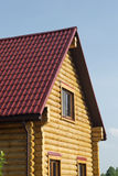 Top of country wooden house in retro style Stock Photos