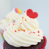 The top cream of Cupcake decorated with heart Royalty Free Stock Image