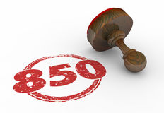 850 Top Credit Score Rating Number Stamp 3d. Illustration Royalty Free Stock Photography