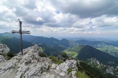 Top cross on Velky Rozsutec peak Royalty Free Stock Photos
