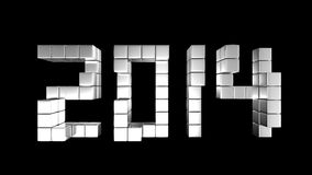 2014Top. The cubic metal to be new year 2014 in top view Stock Photo