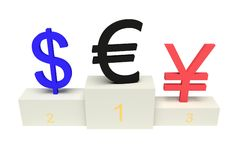 Top currencies, strong Euro, isolated Royalty Free Stock Photos