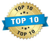 Top 10 3d gold badge. With blue ribbon Royalty Free Stock Images