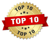 Top 10 3d gold badge. With red ribbon Stock Image