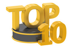 Top 10, 3D rendering. On white background Royalty Free Stock Photos