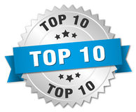 Top 10 3d silver badge. With blue ribbon Stock Images