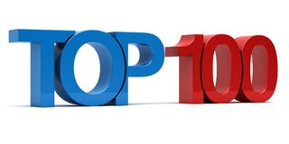 Top 100. 3d text render Royalty Free Stock Photo