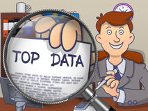 Top Data through Magnifying Glass. Doodle Design. Royalty Free Stock Photo