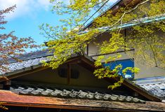 Top de casas japonesas con los árboles verdes fotos de archivo libres de regalías