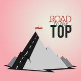 Top de la montaña del ejemplo con el texto del estilo libre illustration
