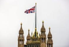 Top de Londres de Victoria Tower, palacio de Westminster Foto de archivo libre de regalías