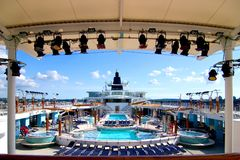 Top Deck. Wide angle of cruise ship deck Stock Photo