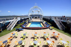 Top deck. Of a cruise ship in the Caribbean Stock Images