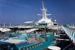 Top deck of cruise ship. Outdoor pool on top deck of cruise ship Stock Photography