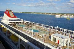 Top deck of the cruise ship. Lido deck of the cruise ship in Caribbean Royalty Free Stock Images