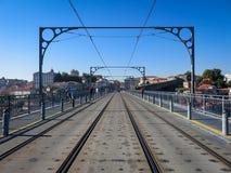 Top deck of Dom Luis Bridge in Porto Stock Images