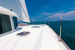 Top deck of luxury yacht during saing to the south of Phuket isl Stock Photography