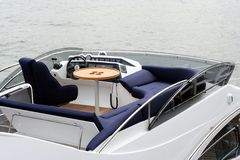Top deck in yacht. Top deck in luxury yacht, place of rest Stock Photos