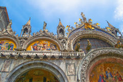 Top decoration details of St. Mark church in Venice. Royalty Free Stock Image