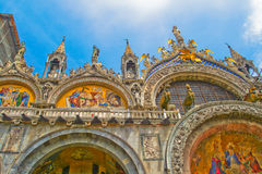 Top decoration details of St. Mark church in Venice. Stock Images