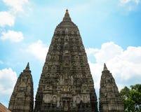 Top del templo de Mahabodhi en Gaya, la India Imagen de archivo libre de regalías