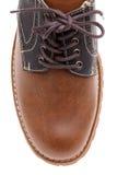 Top del zapato de cuero marrón imagenes de archivo