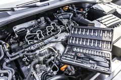 Car Engine Bay with Tool Box. stock photography