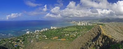 Top of Diamond Head Hawaii panoramic Royalty Free Stock Images