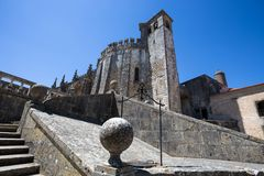 Top of Dom Joao III Cloister Renaissance masterpiece in the Templar Convent of Christ in Tomar, Portugal. UNESCO World Heritage. stock photography