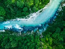 Free Top Down Aerial Birds Eye View Over Soca River, Slovenia Royalty Free Stock Image - 118546636