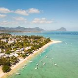 Top down aerial view of tropical beach in Black River, Mauritius island. stock images